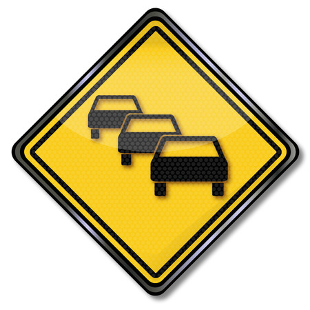 whining: Warning road sign traffic jam and delay