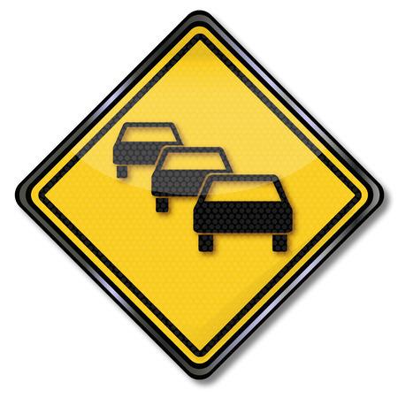 delay: Warning road sign traffic jam and delay