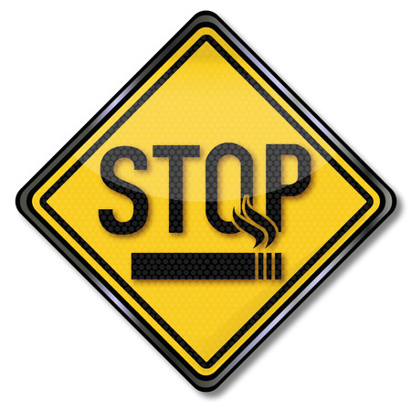wean: Stop sign smokers and smoking cessation Illustration