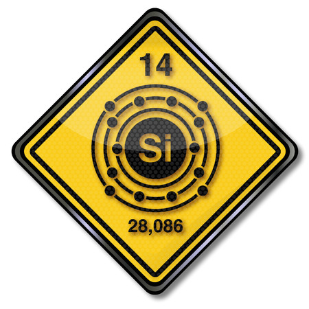 electron shell: Sign chemistry character with silicon Illustration