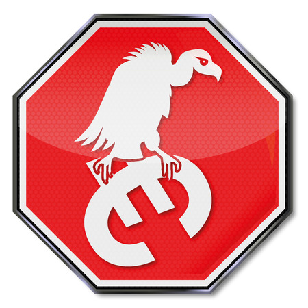 purchasing power: Stop sign and euro vulture  Illustration