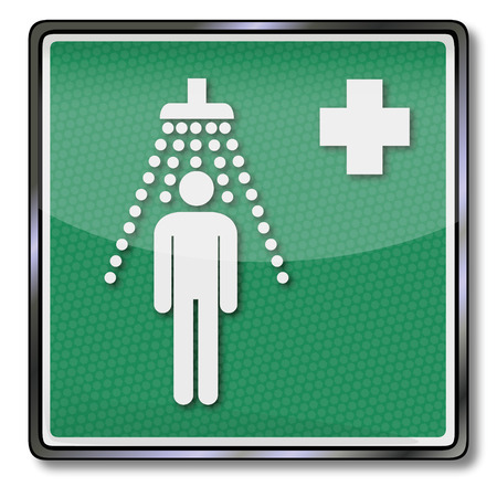 Emergency sign emergency shower