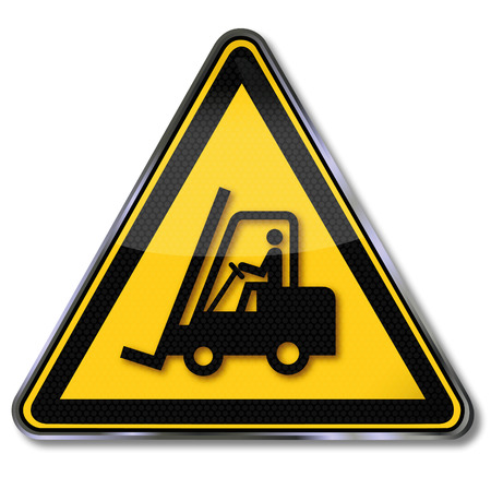 risks button: Danger sign warning for fork lift trucks and forklift
