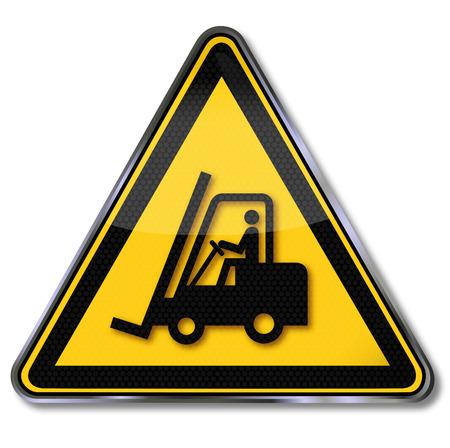 Gevaar waarschuwing voor vorkheftrucks en heftrucks