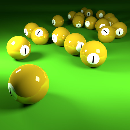 Yellow billiard balls number one  photo
