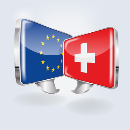 Bubbles with Europe and Switzerland  Illustration