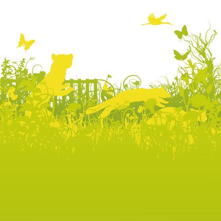 Marten in the garden  Stock Vector - 26170154