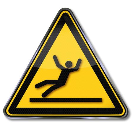 Danger sign warning risk of slipping  Illustration