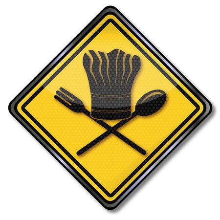 restaurateur: Plaque fourchette, cuill�re et le chapeau de chef de Illustration