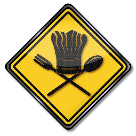 Plate fork, spoon and chef s hat Vector