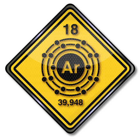 electron shell: Sign chemistry character argon Illustration