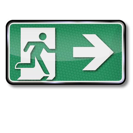 no correr: Señal de salida con salida de emergencia y la salida de emergencia hacia la derecha Vectores