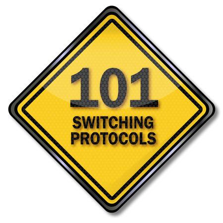 Computer sign 101 switching protocols Banco de Imagens - 26536105