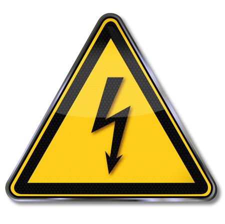危険危険な電気的な電圧の警告をサインします。  イラスト・ベクター素材