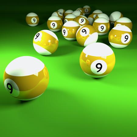 billiards room: Yellow white billiard balls number nine  Stock Photo