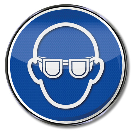 Bescherming gebodsbord gebruik eye Stock Illustratie