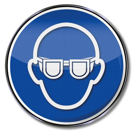 Mandatory sign use eye protection  Illustration