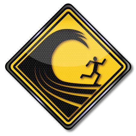 high damage: Warning sign high waves  Illustration