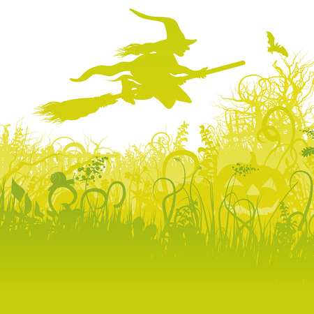 popular belief: Flying witch on the broom in the garden  Illustration