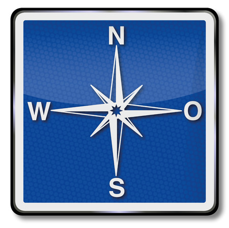 geocaching: Plate compass, compass rose and indication of direction