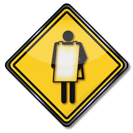 Sign man with poster around the body  Vector