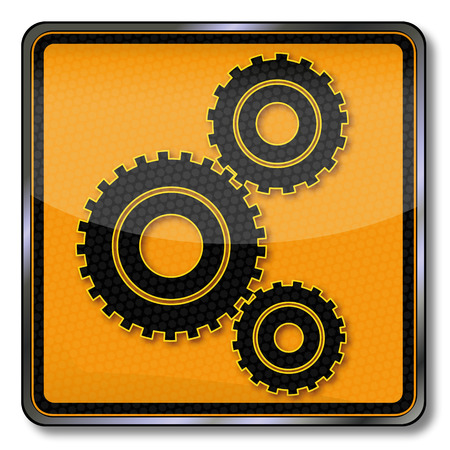 high torque: Plate gears and mechanical engineering  Illustration