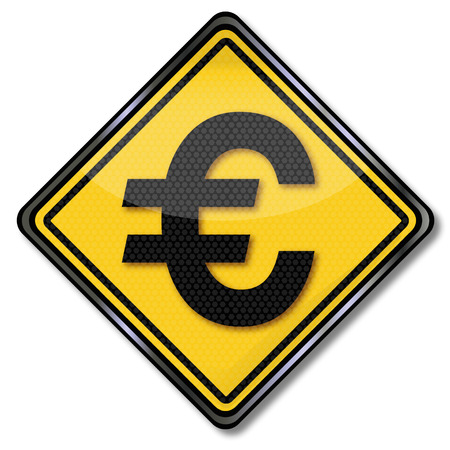 tax policy: Sign with the euro currency Illustration