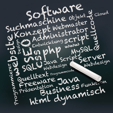 freeware: Blackboard and chalk with PHP, SEO, computer science and software Illustration