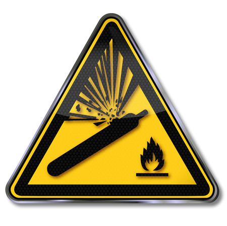 pressure bottle: Cilindros de gas de alerta Muestra del peligro y explosi�n