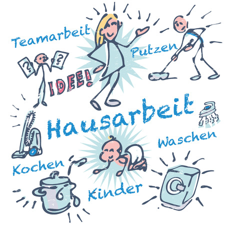 Stick figures and housework