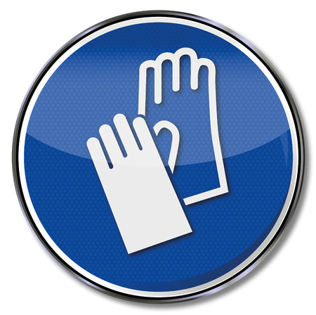 occupational risk: Mandatory sign using hand protection and gloves