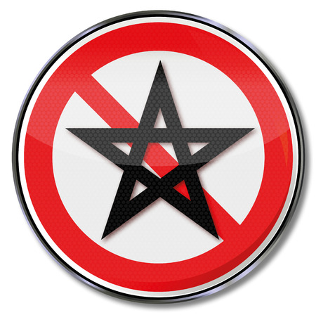 secret society: Prohibition sign five-pointed star and pentagram