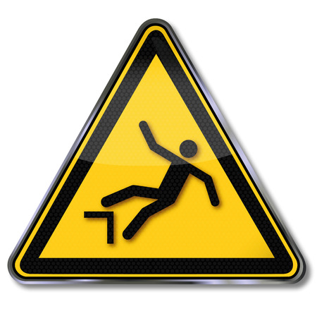 cliff edge: Warning sign from falling down Illustration