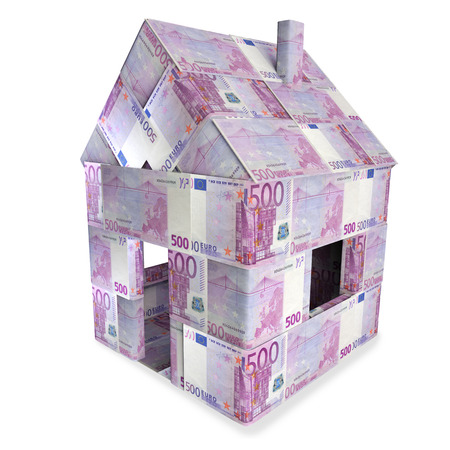 purchasing manager: House made of 500 Euro bills Stock Photo