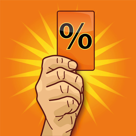 Hand showing card with percent sign Vector