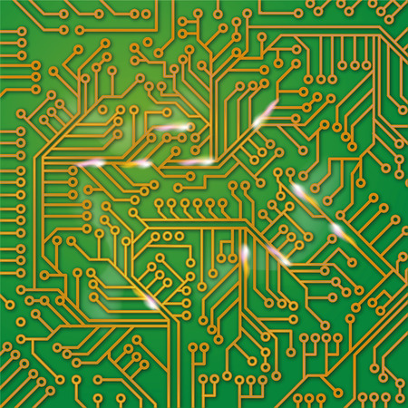 computer viruses: Green computer board with wiring