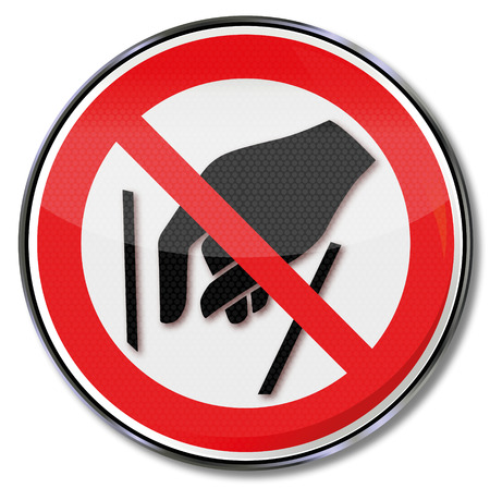 prohibition: Prohibition sign to reach inside is forbidden