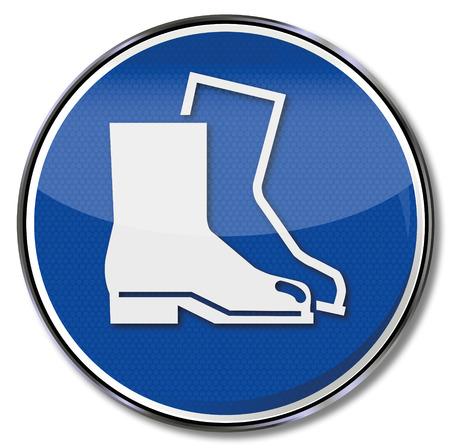 bilinçli: Zorunlu işareti kullanım güvenliği ayakkabıları Çizim