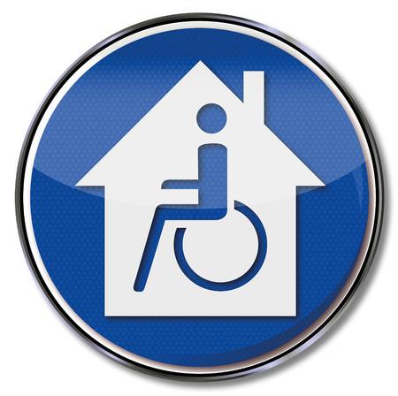 Teken rolstoel en gehandicapten huis