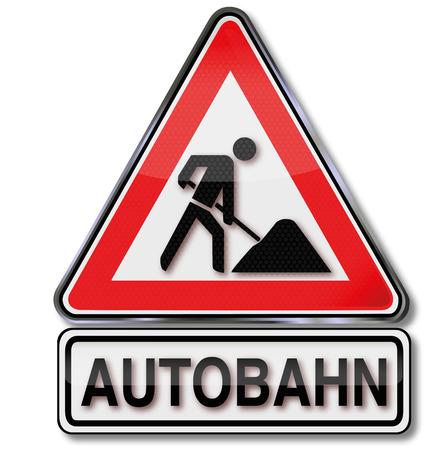 고속도로: 도로 표지판 고속도로 및 고속도로 건설 현장 일러스트
