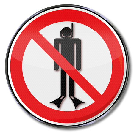 snorkelers: Prohibition sign with diving ban