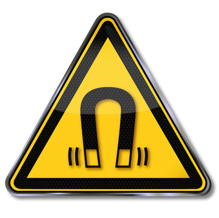 warning triangle: Danger sign warning of magnetic field  Illustration