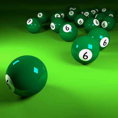 billiards room: Green billiards balls number six