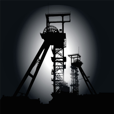 mining: Winding towers at night