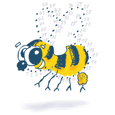 genial: Point drawing with a little funny bee