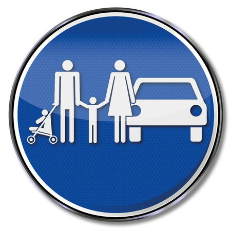 family policy: Traffic sign family and family park place  Illustration