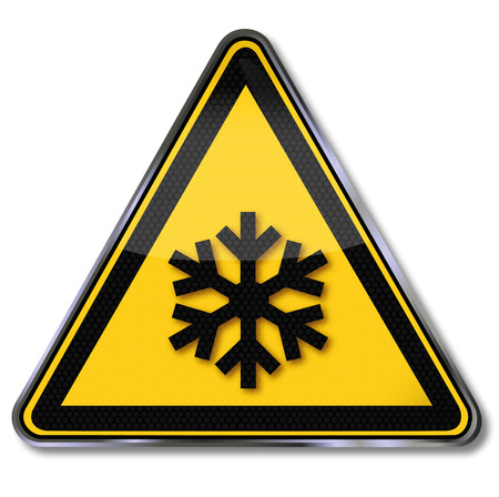 refrigerant: Danger sign warning  of low temperature and cold Illustration