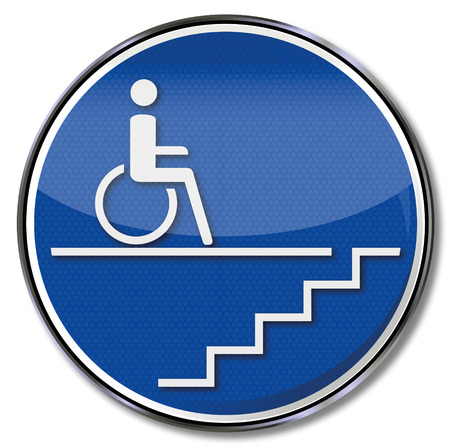 Sign handicap wheelchair by a staircase