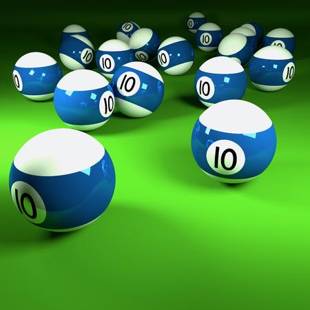 billiards room: Blue and white billiard balls number ten