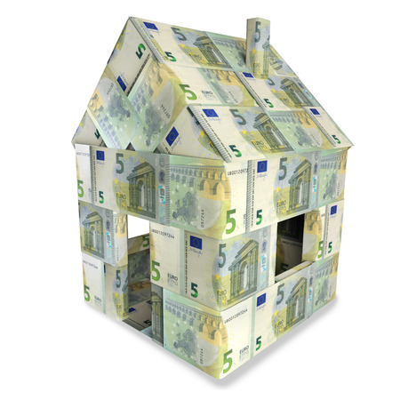 house exchange: House made of 5 Euro notes
